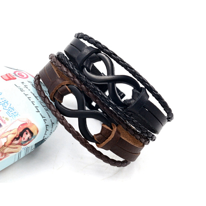 New Fashion Black Brown Color Infinity Bracelets Hand Braided Charms Bracelets Leather Rope Bangles Bracelet For Lovers