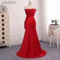 אדום הערב רשמי שמלות Vestido de Festa Abendkleider 2017 בת ים מפלגת סטרפלס ארוך נשף שמלת חלוק דה Soiree