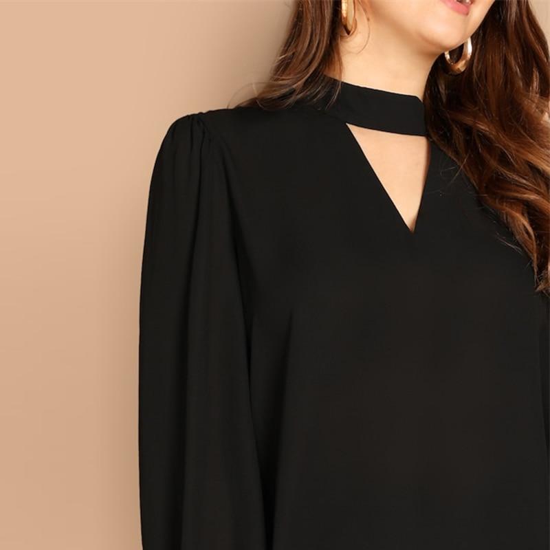 Blusa Talla Plus Medea negra de manga larga moderna Paraíso de la Moda | PdM