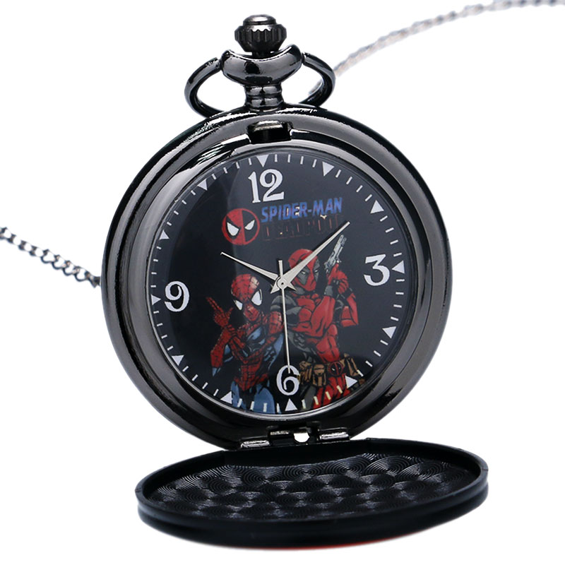Hot Movie Marvel DEADPOOL Large Game Theme Quartz Watches Spiderman Dial Pocket Watch Necklace For Child Women Mens Gift