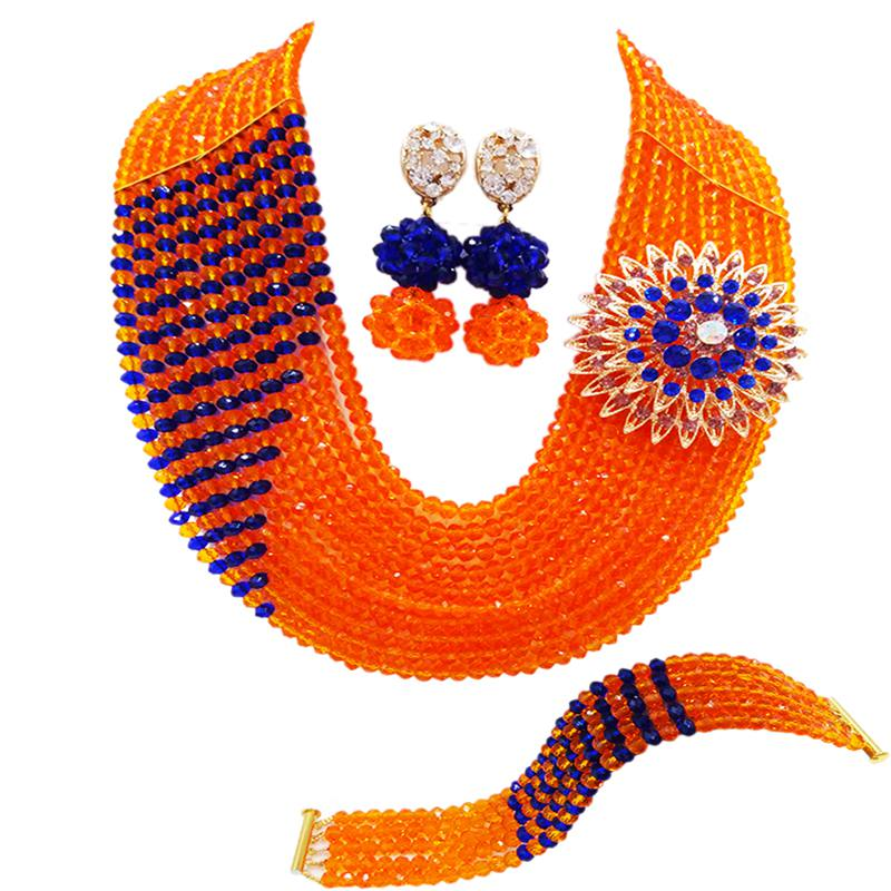 Widely Popular Orange Royal Blue Crysral Women Anniversary Beads Necklace Earrings Sets 10C-CJZ-40Widely Popular Orange Royal Blue Crysral Women Anniversary Beads Necklace Earrings Sets 10C-CJZ-40