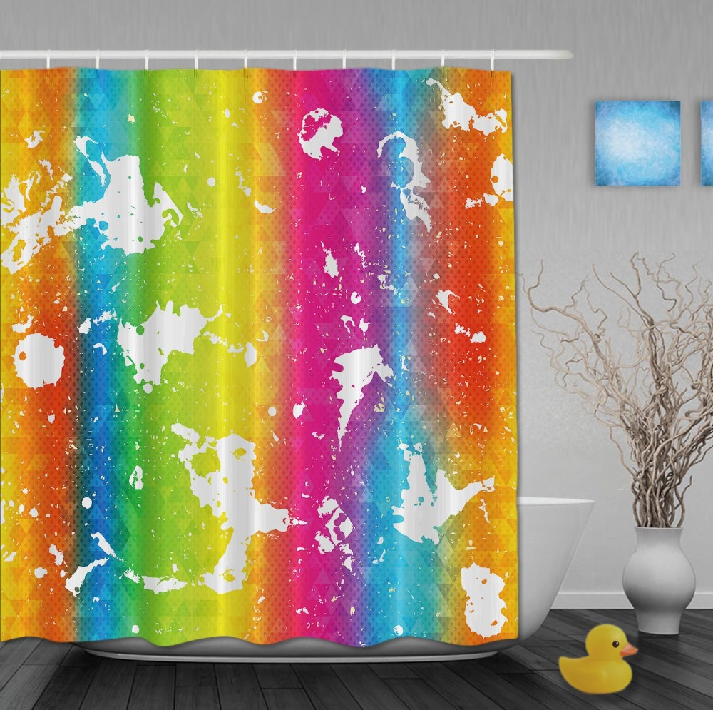 Paint Printing Striped Rainbow Shower Curtains Waterproof Bathroom Curtain With Hooks Custom For Home Decor In From