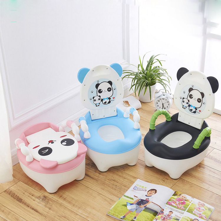 Cute Panda Chair Baby Potty Training Chair Plastic Infant Potty Chair Portable Baby Toilet Seat Potty Toilet Child Training the silver chair