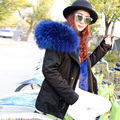 2016 Parkas For Women Winter Army Green Wadded Coat Large natural real fur Collar Thick Jacket Outerwear Female Snow Wear Brand