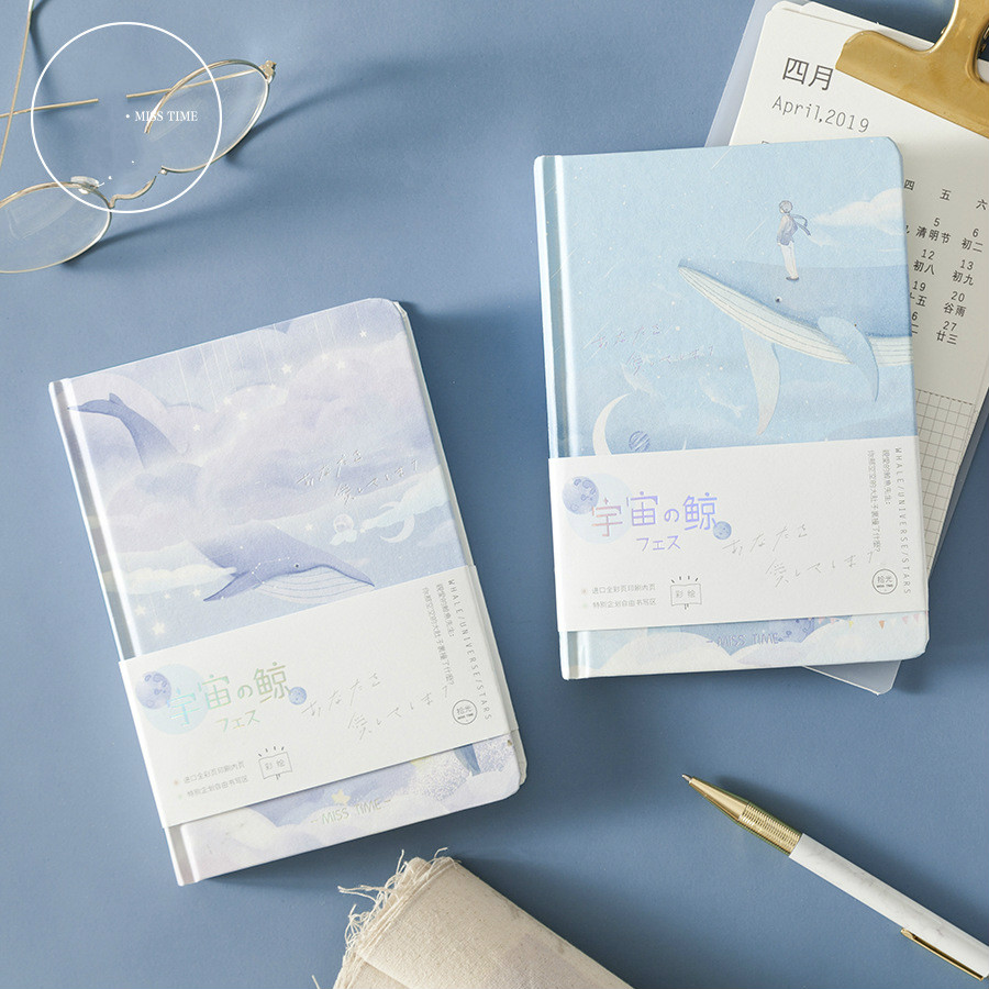 A5 Creative Hardcover Cosmic Whale Colorful Pages Notebook Cute