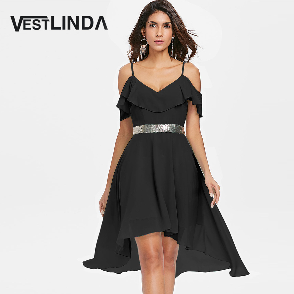 Detail Feedback Questions about VESTLINDA Cold Shoulder High Waist High Low  Flowy Flounce Chiffon Dress Women Elegant Party Dresses Summer Sun Dress ... eb89ce144