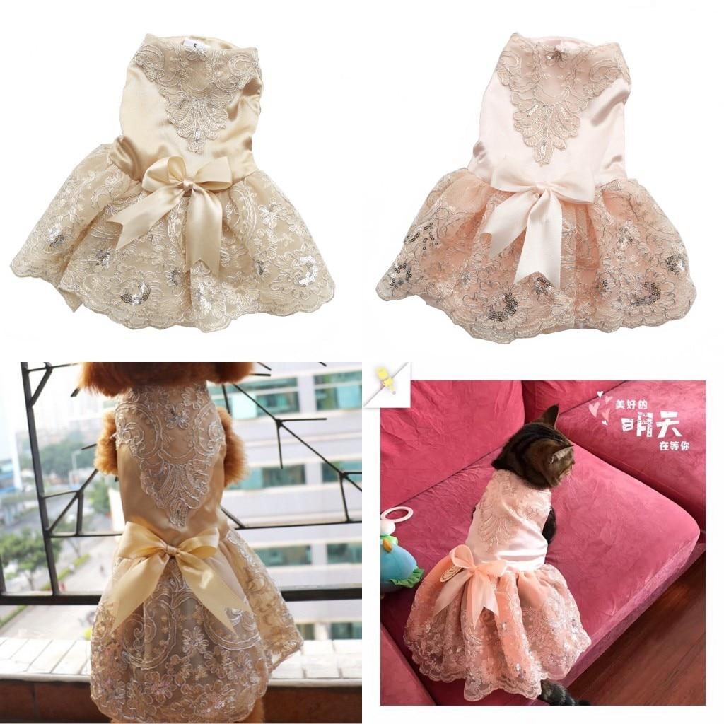 Prabangus princesė šunų vestuvių suknelė nėrinių naminių - Naminių gyvūnėlių produktai - Nuotrauka 2