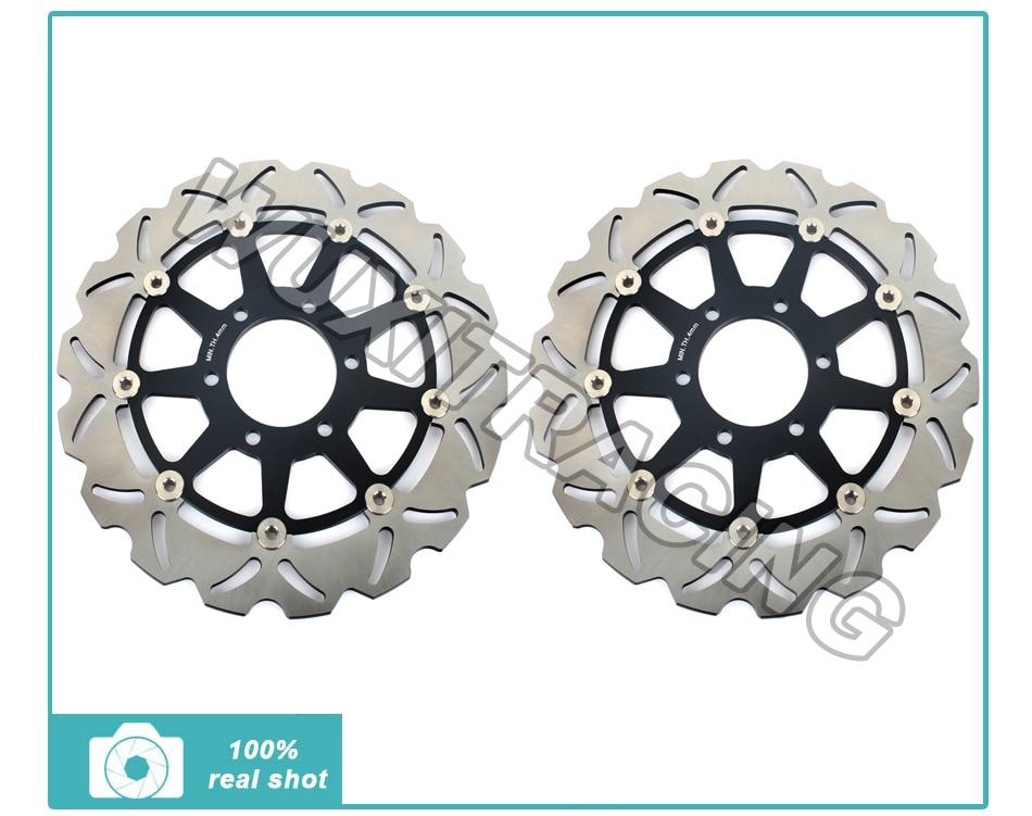 Black Front Brake Discs Rotors for Triumph T955 T509 SPEED TRIPLE T955i T595 DAYTONA SPRINT RS ST 955 97 98 99 00 01 02 03 04 adjustable extendable folding clutch brake levers for triumph sprint rs 99 00 01 02 03 tiger 955 04 05 06 2006 st 955i 97 98