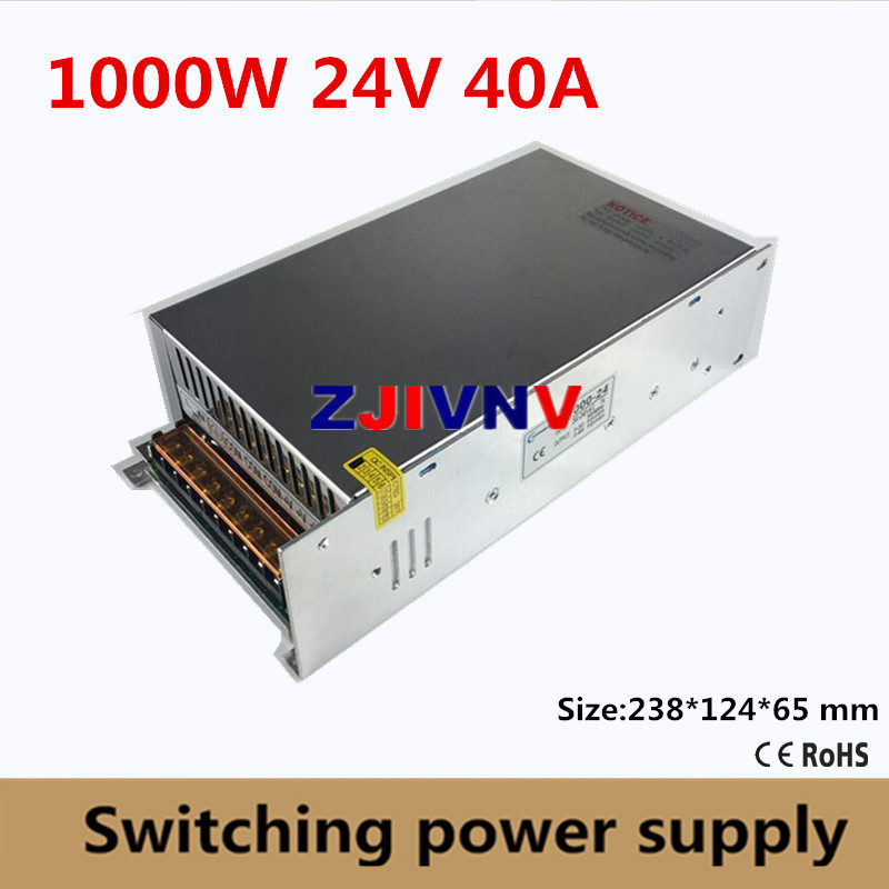 Small Volume Single Output 1000W <font><b>Switching</b></font> <font><b>Power</b></font> <font><b>Supply</b></font> <font><b>24V</b></font> <font><b>40A</b></font> Transformer AC110V or 220V TO DC SMPS for LED Light CNC Stepper image