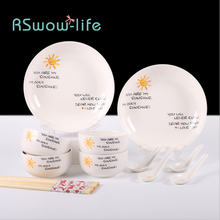 14Pcs Simple Ceramic Tableware Cartoon Bowl Dish Set Hotel For Home Kitchen Supplies