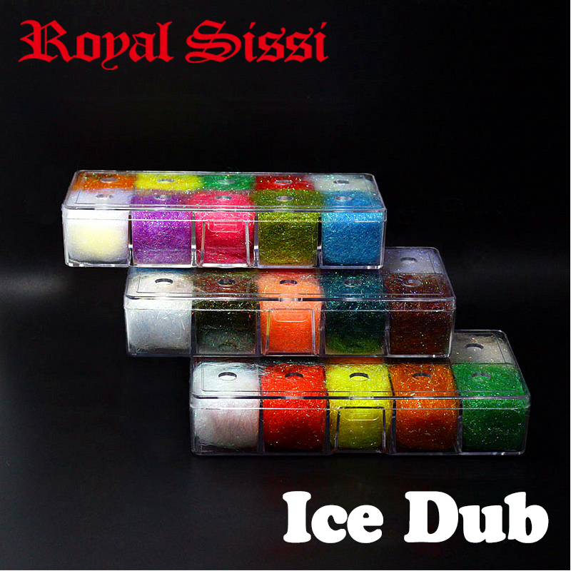 10 colores / caja atado de moscas Prisma ICE DUB con DISPENSADOR de lujo chispa doblaje Material sintético de atado de moscas para moscas ninfa