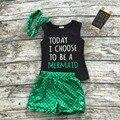 Meninas do bebê verão roupas boutique de roupas crianças sereia hoje Eu escolho ser uma sereia outfits outfits menina com headband