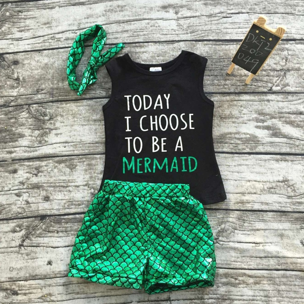 baby girls summer outfits boutique clothes children mermaid outfits girl today I choose to be a mermaid outfits with headband kids clothes girls boutique clothing girls back to school outfits girls summer outfits with matching headband