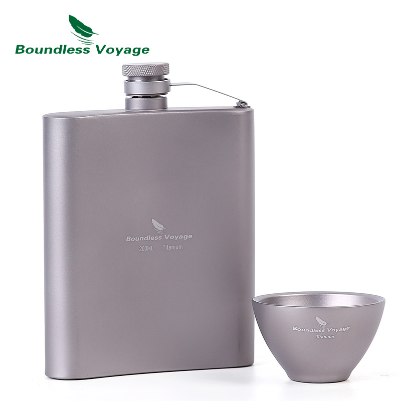 Boundless Voyage Titanium Hip Flask Sake Cup Set Outdoor Camping Hiking Travel Picnic Alcohol Whiskey Wine Tea Flagon Mug Set D fire maple portable titanium flagon outdoor sake set camping wine pot with cup travel drinkware fmc 1703002 fmc 1703003