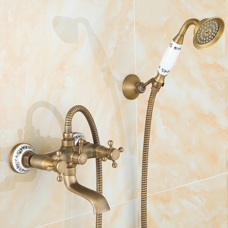 European antique shower set bathroom shower faucet mixer tap, Vintage wall mounted copper shower faucet set water hot and cold