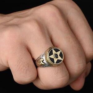 Image 5 - V.YA 925 Sterling Silber Invertiert Pentagramm Ring für Männer mit Naturstein Pentagramm Ringe Schmuck Mode Männer Ring