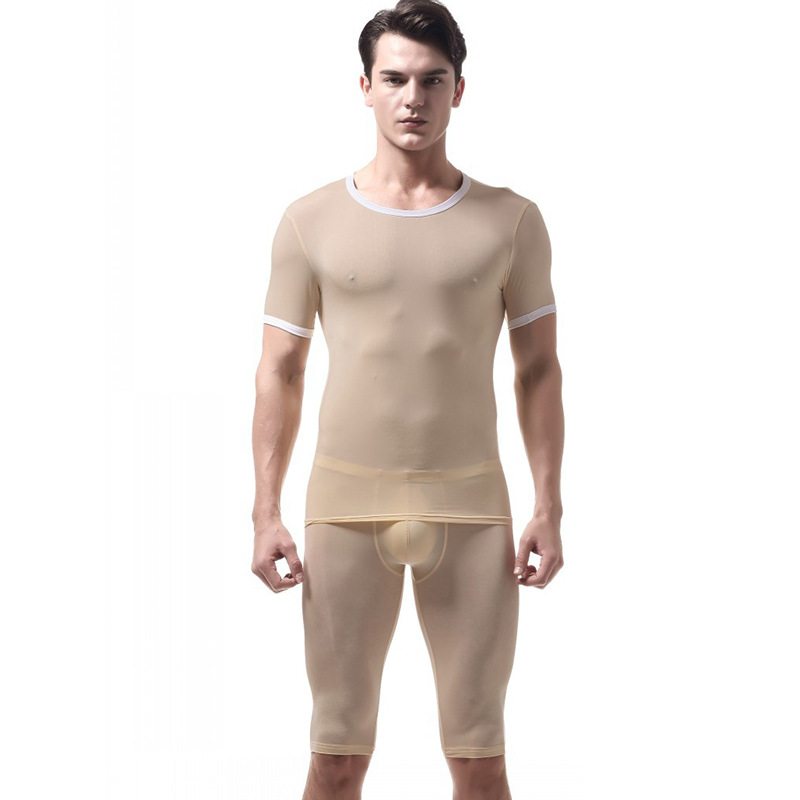 Pajamas For Men Ice Silk Sleepwear Pijama Hombre Slim Mens Pyjama Set Nightgown Short Erkek Pijama Men's Pajamas Underwear Mens
