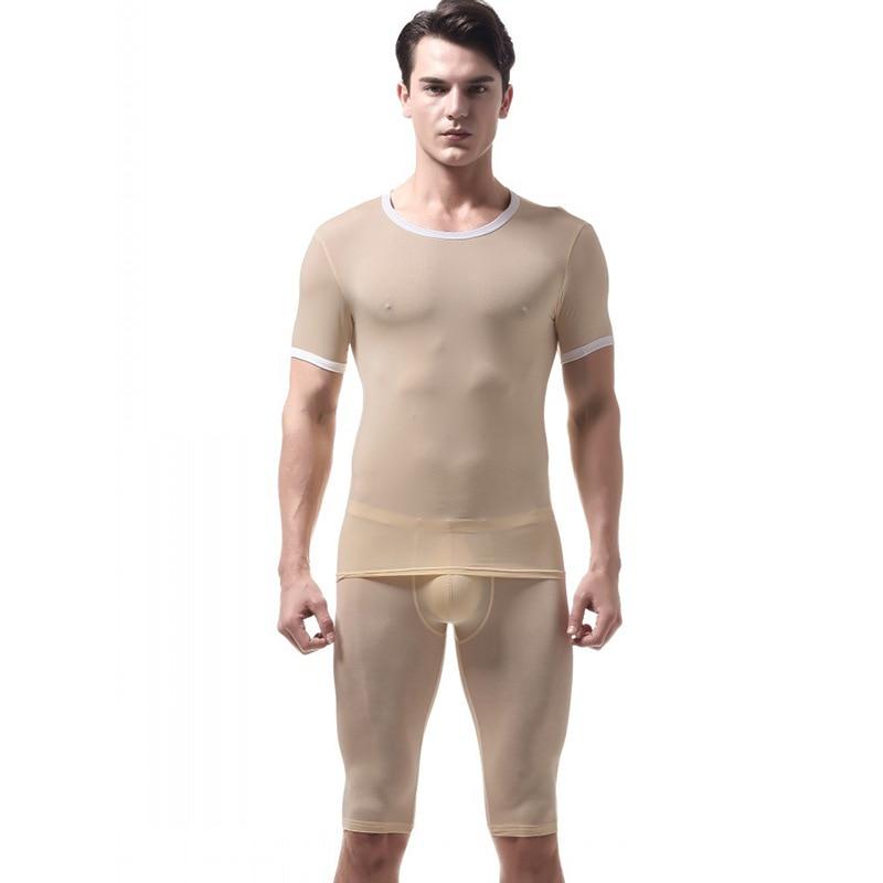 Pajamas For Men Ice Silk Sleepwear Pijama Hombre Slim Mens Pyjama Set Nightgown Short Erkek Ropa Interior Hombre Underwear Mens