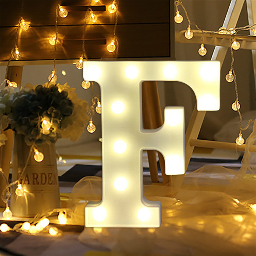 2018 New Year Garlands LED String Christmas Decorations Plastic Letters Standing Hanging A-M Letter Lights 122