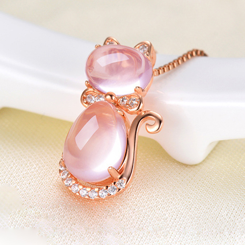 Rose Gold Color Cat Necklace