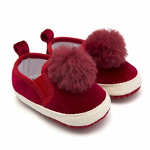 Купить с кэшбэком Baby Shoes Espadrille Outsole Round Toe Fur Trim Little Girl Shoes Red Infant Shoes Baby Booties Pram Shoes Toddler Loafer 0-18M