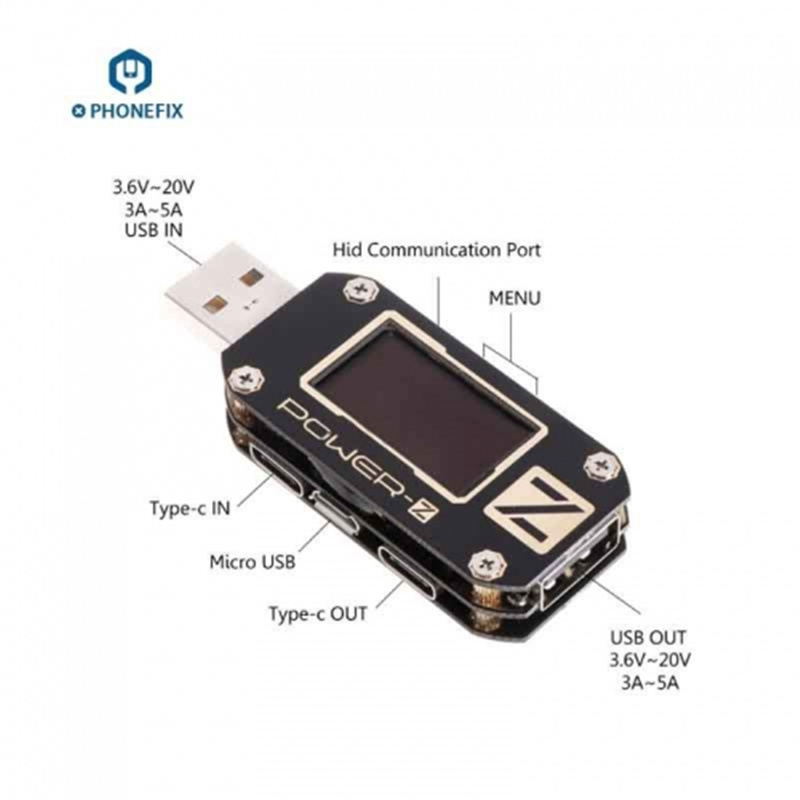 PHONEFIX Multi-Function POWER-Z USB Tester Type-C Micro USB Digital Voltmeter USB PD Tester QC3.0 2.0 ChargerPHONEFIX Multi-Function POWER-Z USB Tester Type-C Micro USB Digital Voltmeter USB PD Tester QC3.0 2.0 Charger