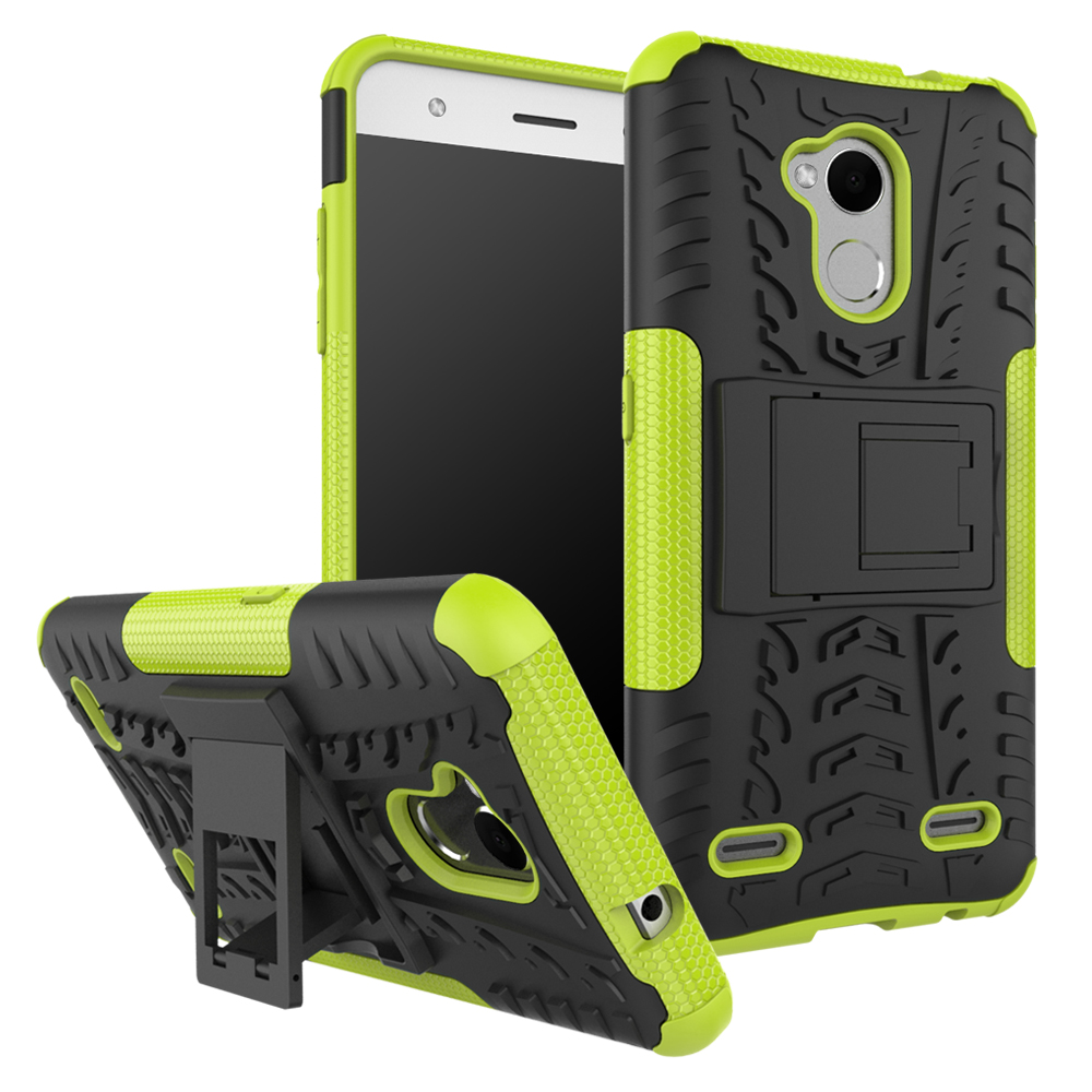 2 In 1 Heavy Duty Strong Rugged Armor Tire Style Hybrid TPU PC Hard Stand Bracket Case For ZTE Blade V6 Plus/V7 Lite/A2
