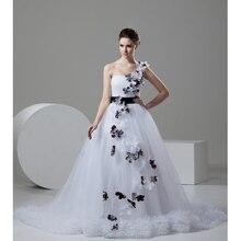 Custom Made Novia 2017 White&Coffee Tulle Flowers Black Sash Beading One Shoulder Wedding Dress Vestido De Casamento