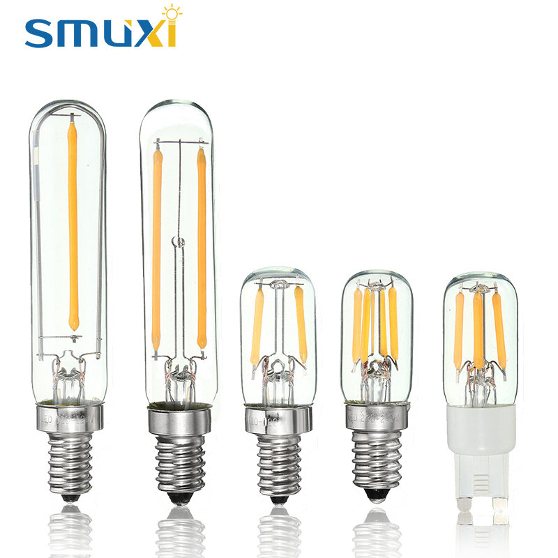 Dimmable COB LED Light Vintage Edison Bulb E12 E14 G9 1W 2W Tubular Refrigerator Fridge LED Filament Bulb Warm White Lighting