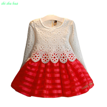 Little girl in the fall and winter seasons fashion outline Princess Dress 2-7 year old beautiful clothes 2016 hot sale AAAA