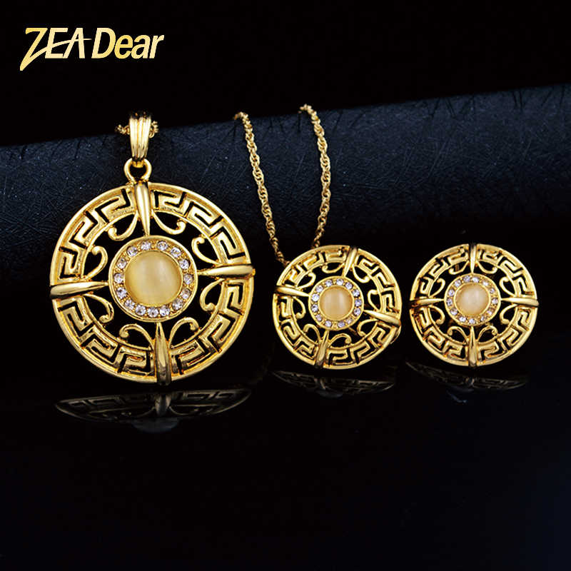 ZEA Dear Jewelry Ethnic Round Jewelry Set For Women Earrings Necklace Pendant For Party Zircon Jewelry Set Birthday Jewelry Gift