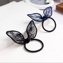 Lace rabbit ears hair ring Japanese and Korean fashion personality tiara scrunchies