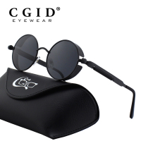 CGID Steampunk Style Round Metal Sunglasses With UV400 And Polarized Lens For Men Women E72