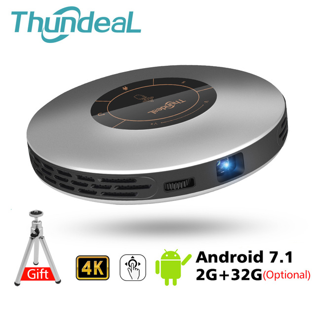 Thundeal dlp 프로젝터 t18 최대 와이파이 안드로이드 7.1 블루투스 피코 포켓 hdmi 지원 4 k 1080 p 16g 32g 미니 led proyector 3d 비머