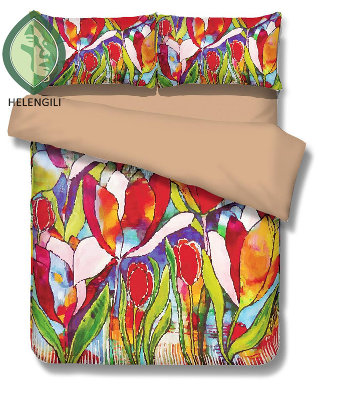 Painting in water colours Beautiful tulip 3D Bedding Set Print Duvet cover set Twin queen king lifelike <font><b>bed</b></font> sheet #2