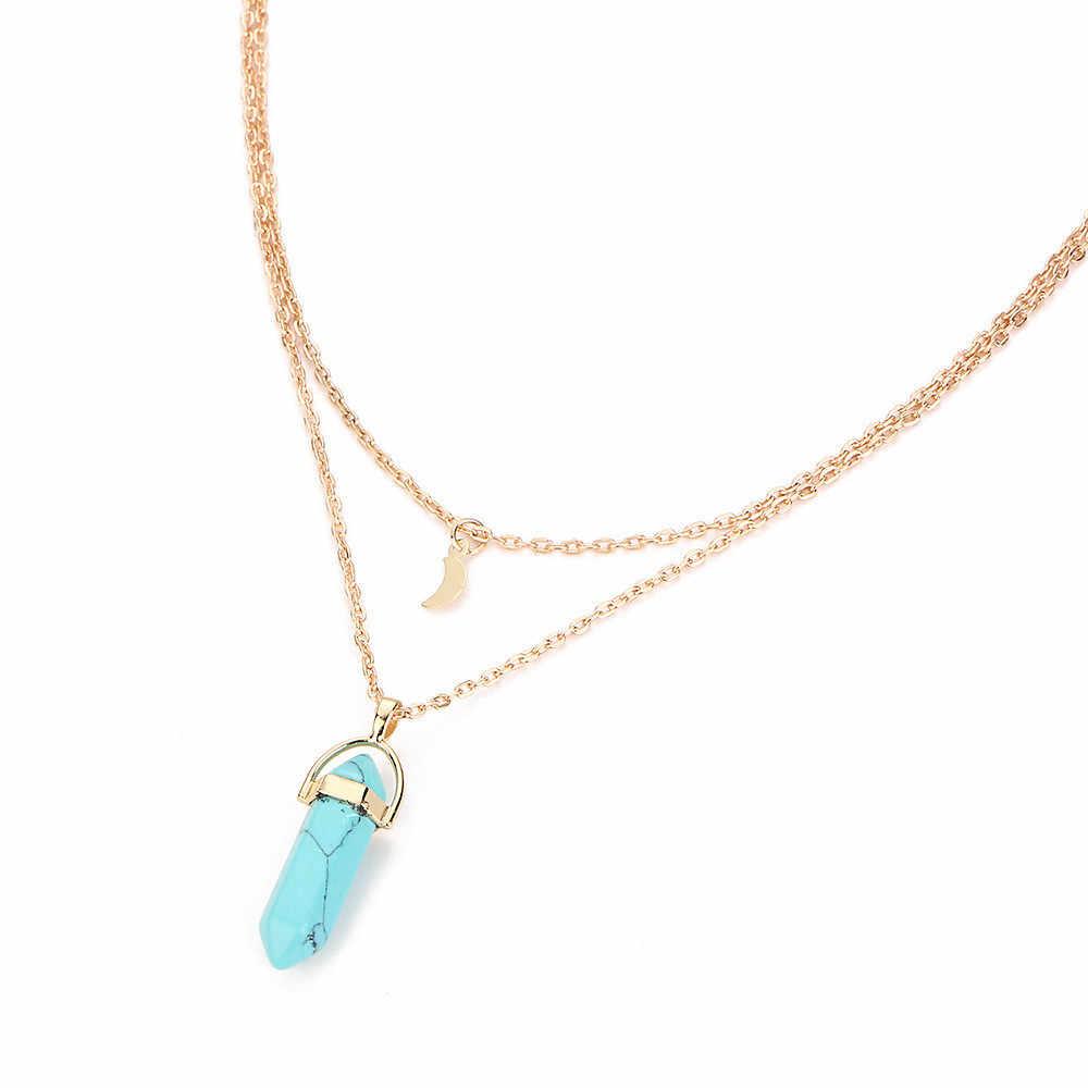 세련된 보석 여성 bijoux 다층 불규칙한 크리스탈 오팔 펜던트 목걸이 초커 체인 베스트 셀러 reiki chakra necklaces