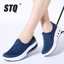 STQ 2020 sonbahar kadın Sneakers ayakkabı düz Platform ayakkabılar kadınlar nefes örgü rahat ayakkabılar platformu üzerinde kayma Creepers ayakkabı 7690