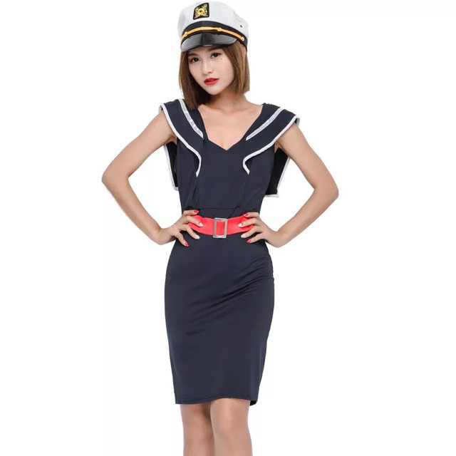 62c7f9b379cc7 Teen Girls 1940s Navy Sailor Costume Sweet Outfit Sexy Nightclub Party  Black   Navy Uniform Fancy