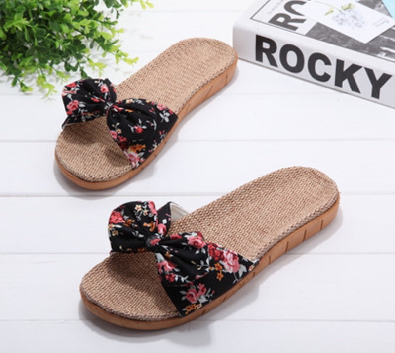 Summer and autumn linen slippers female summer home indoor floral non-slip bathroom cute cool slippers wholesale 5