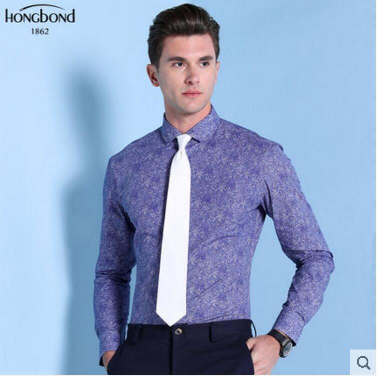 100%Cotton Blue Printed Shirt Men 's Business Fashion Style Spring Autumn Professional Tailor made High Quality