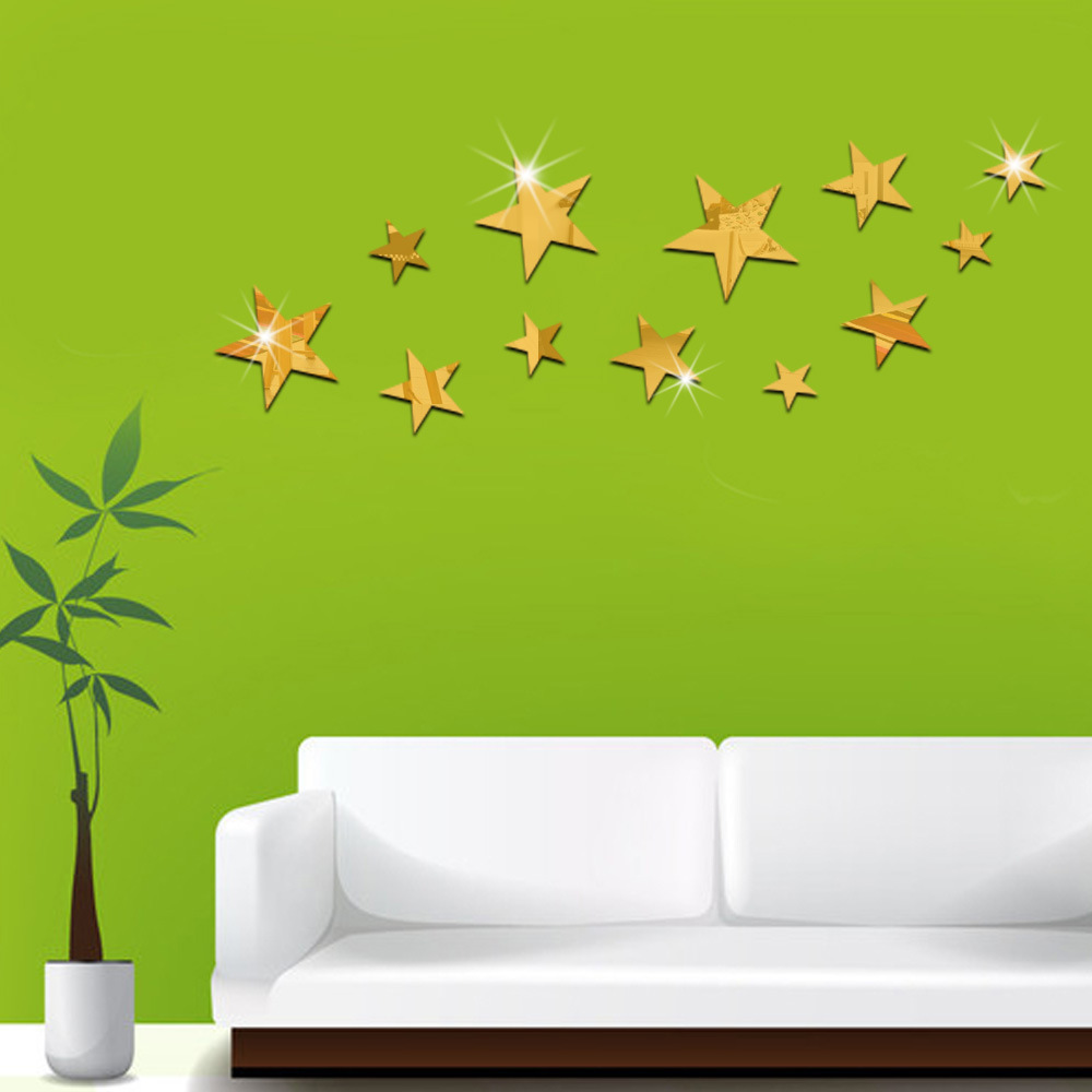 12 pcsset fashion home decor mirror wall stickers gold silver 12 pcsset fashion home decor mirror wall stickers gold silver shining star room decorative mirrors sticker diy mural art decals in wall stickers from home amipublicfo Gallery