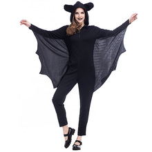 Umorden Halloween Easter Party Costumes Adult Women Black Bat Vampire Costume Hooded Jumpsuit Fancy Cosplay for Woman