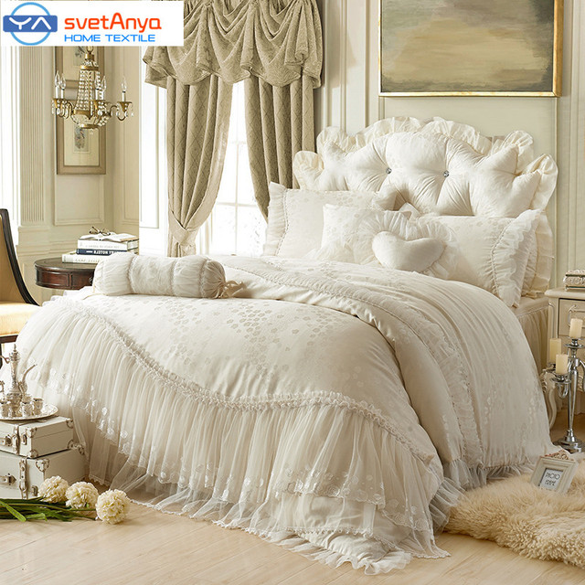 Princess Lace Cotton Luxury Bedding Sets Queen King Size