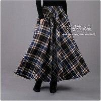 2017 Spring Winter Women Long Skirt Blue Black Plaid Skirt Women's Elastic Waist Retro Wool Skirt Casual Maxi Skirt Saia XL XXL
