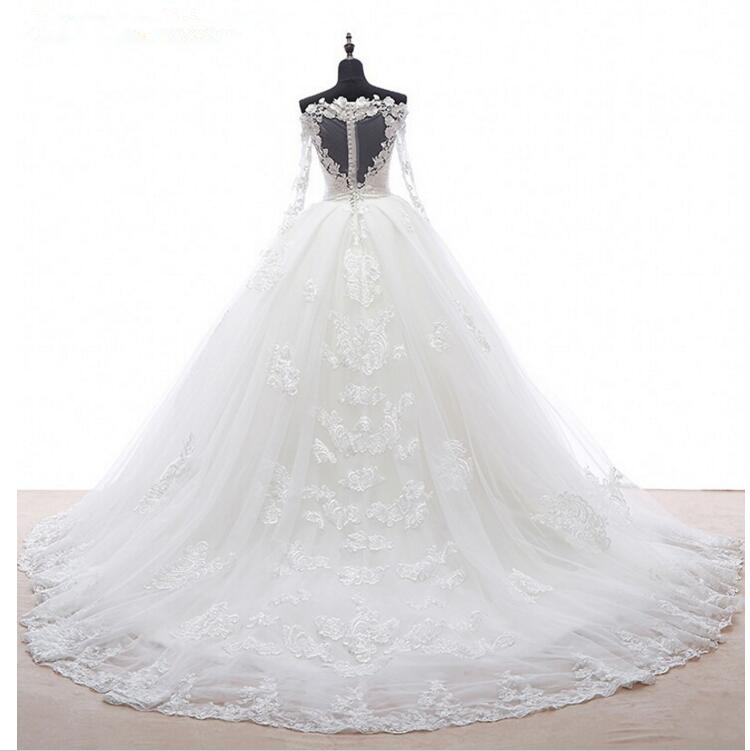 Real Image Detachable Skirt Wedding Dress 2019 Vintage Vestido De Noiva Long Sleeves Handmade Bridal Gowns Free Shipping