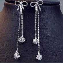 Korean Fashion Bowknot Tassel Long Earrings Girls 925 Sterling Silver Needle Zircon Drop Earring Vintage Jewelry