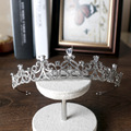 O envio gratuito de noiva coroa cocar de cabelo das meninas de cabelo zircão tiara do casamento jóias por atacado