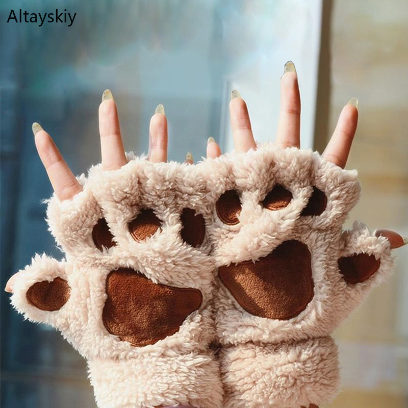 Gloves Women Thicker Warm Winter Kawaii Plush Cat Claw Paw Cartoon Half-finger Sweet 2020 New Cute Lovely Simple Daily Soft Chic