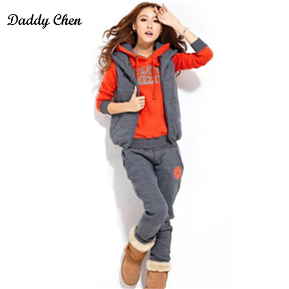 New Fashion Suits Winter Women Warm Thick Fleece Three Piece Set Casual Hooded Ladies Tr ...