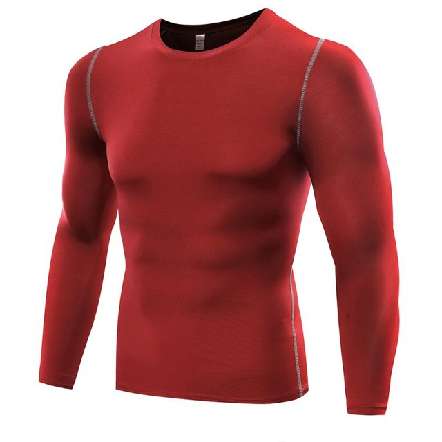 2018 New Quick Dry Men Compression Sports Shirt Long Sleeves Tshirt Fitness Clothing Solid Colorquick Dry Bodybuild Crossfit 2
